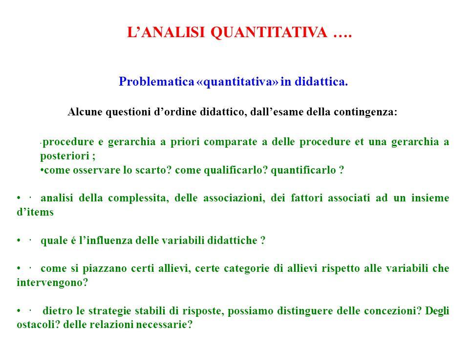 Problematica «quantitativa» in didattica.