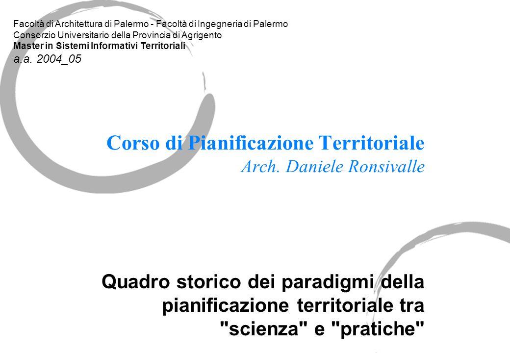 Corso di Pianificazione Territoriale Arch. Daniele Ronsivalle Quadro storico dei paradigmi della pianificazione territoriale tra