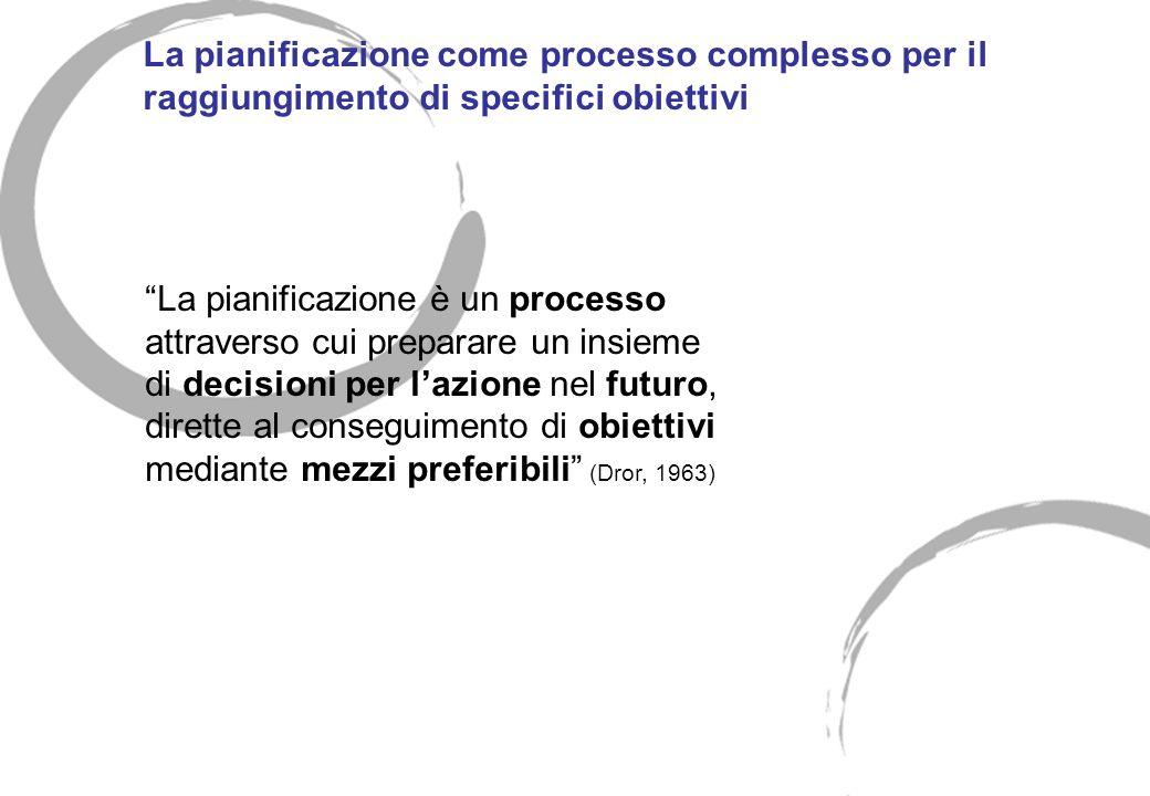 La pianificazione come processo complesso per il raggiungimento di specifici obiettivi La pianificazione è un processo attraverso cui preparare un ins