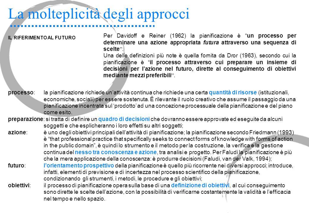 La molteplicità degli approcci IL RIFERIMENTO AL FUTURO Per Davidoff e Reiner (1962) la pianificazione è un processo per determinare una azione approp
