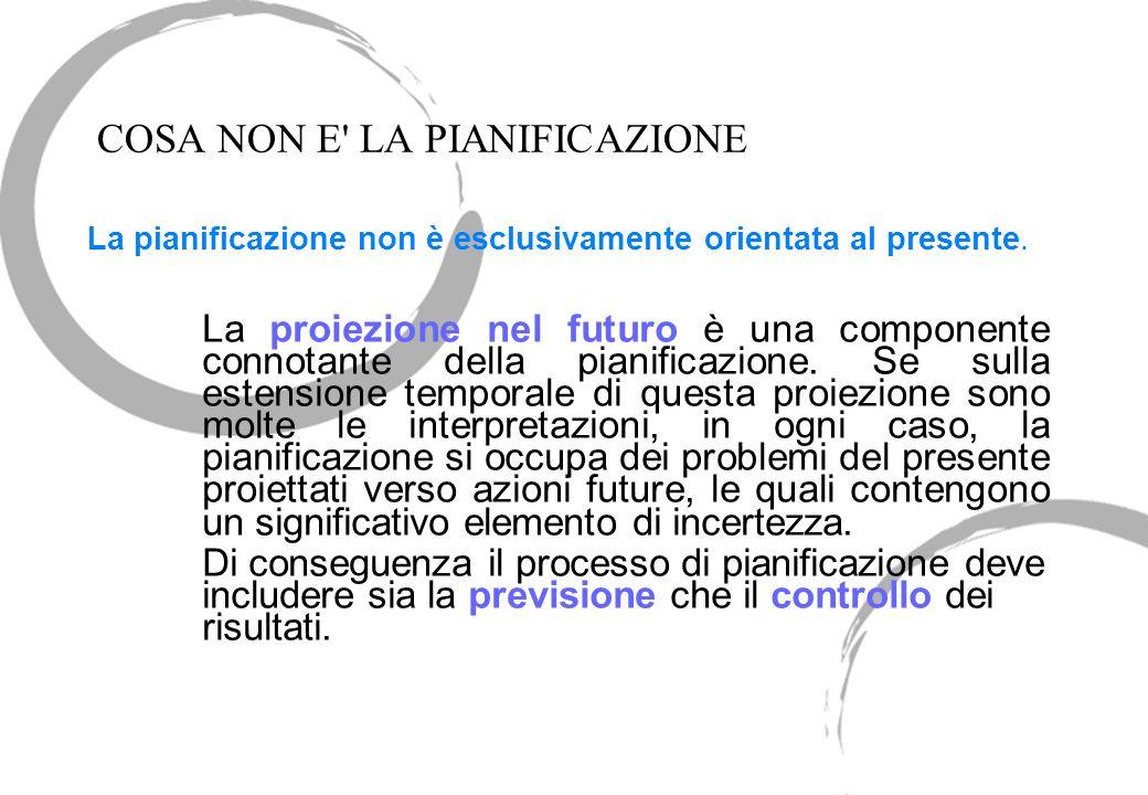 COSA NON E' LA PIANIFICAZIONE La proiezione nel futuro è una componente connotante della pianificazione. Se sulla estensione temporale di questa proie