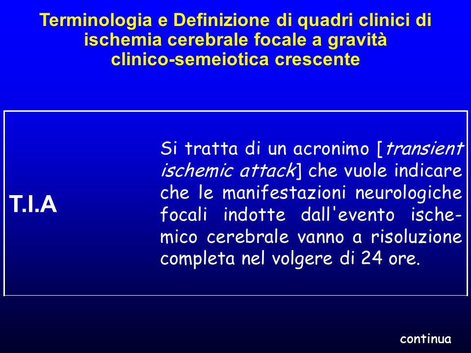Terminologia e Definizione di quadri clinici di ischemia cerebrale focale a gravità clinico-semeiotica crescente Si tratta di un acronimo [transient i