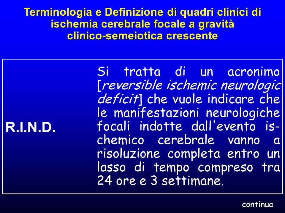 Terminologia e Definizione di quadri clinici di ischemia cerebrale focale a gravità clinico-semeiotica crescente Si tratta di un acronimo [reversible