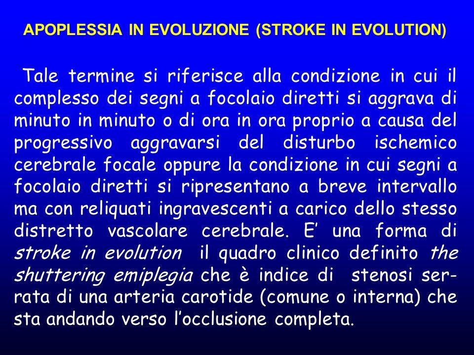 APOPLESSIA IN EVOLUZIONE (STROKE IN EVOLUTION) Tale termine si riferisce alla condizione in cui il complesso dei segni a focolaio diretti si aggrava d