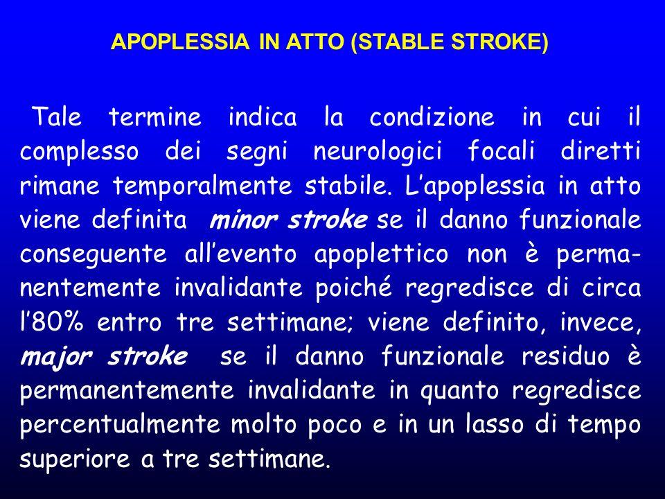 APOPLESSIA IN ATTO (STABLE STROKE) Tale termine indica la condizione in cui il complesso dei segni neurologici focali diretti rimane temporalmente sta