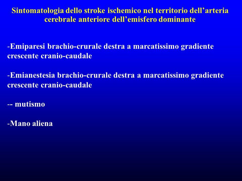 Sintomatologia dello stroke ischemico nel territorio dellarteria cerebrale anteriore dellemisfero dominante -Emiparesi brachio-crurale destra a marcat