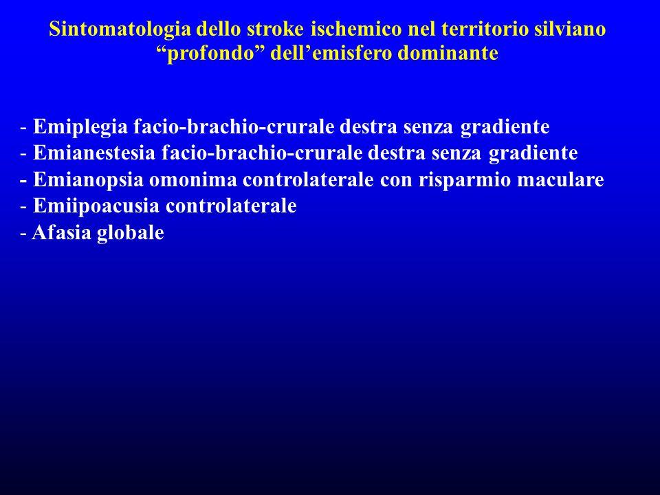 Sintomatologia dello stroke ischemico nel territorio silviano profondo dellemisfero dominante - Emiplegia facio-brachio-crurale destra senza gradiente