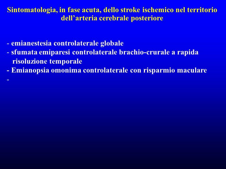 Sintomatologia, in fase acuta, dello stroke ischemico nel territorio dellarteria cerebrale posteriore - emianestesia controlaterale globale - sfumata