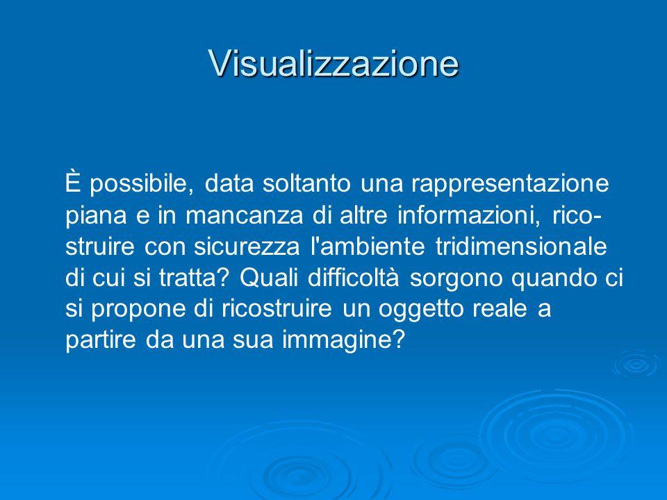 Visualizzazione È possibile, data soltanto una rappresentazione piana e in mancanza di altre informazioni, rico- struire con sicurezza l'ambiente trid