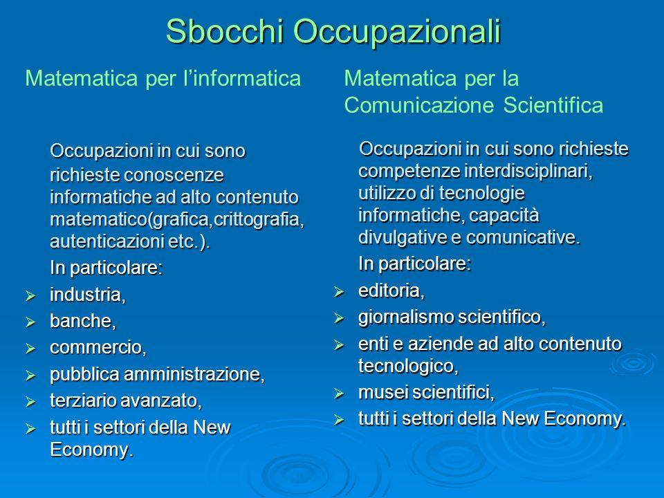 Sbocchi Occupazionali Occupazioni in cui sono richieste conoscenze informatiche ad alto contenuto matematico(grafica,crittografia, autenticazioni etc.