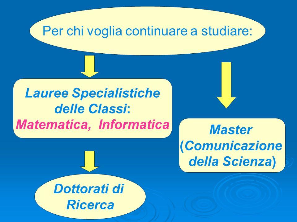 Lauree Specialistiche delle Classi: Matematica, Informatica Master (Comunicazione della Scienza) Dottorati di Ricerca Per chi voglia continuare a stud