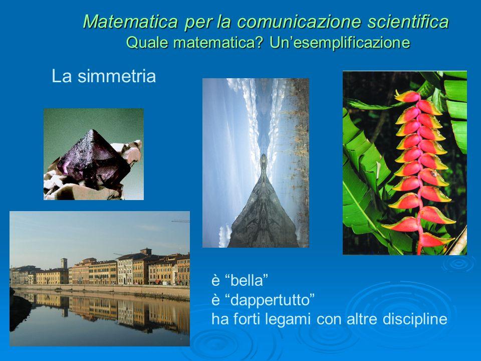 La simmetria Matematica per la comunicazione scientifica Quale matematica.