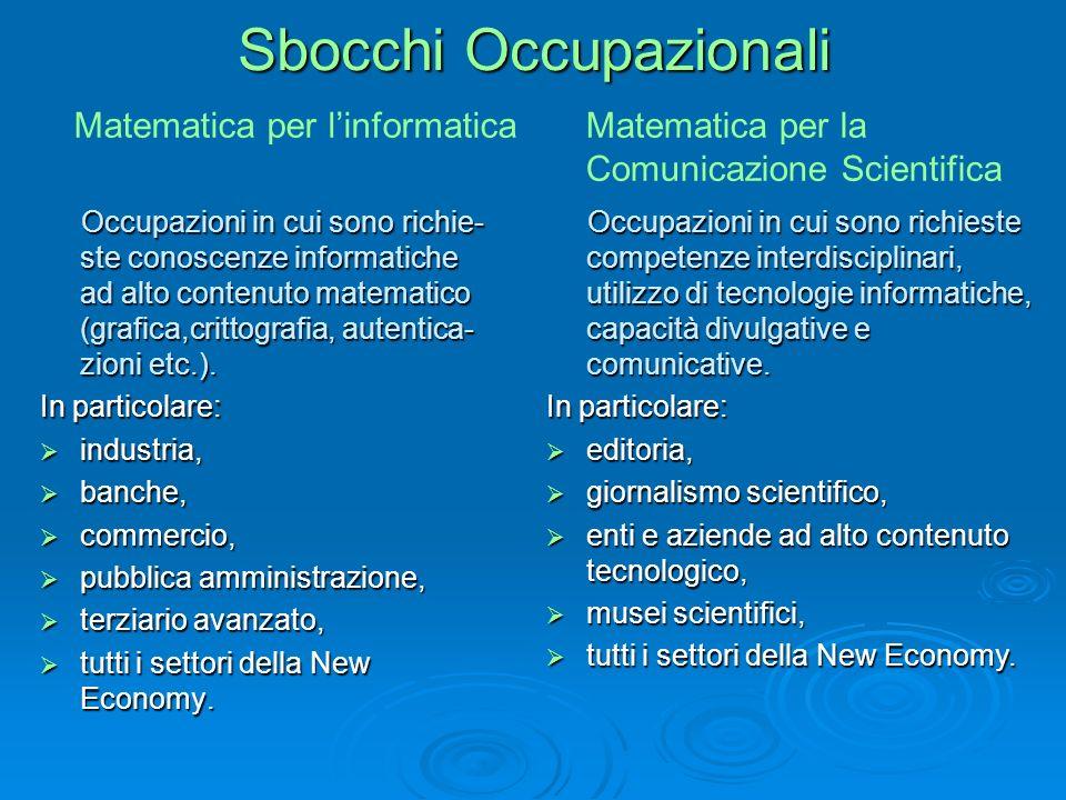 Sbocchi Occupazionali Occupazioni in cui sono richie- ste conoscenze informatiche ad alto contenuto matematico (grafica,crittografia, autentica- zioni etc.).