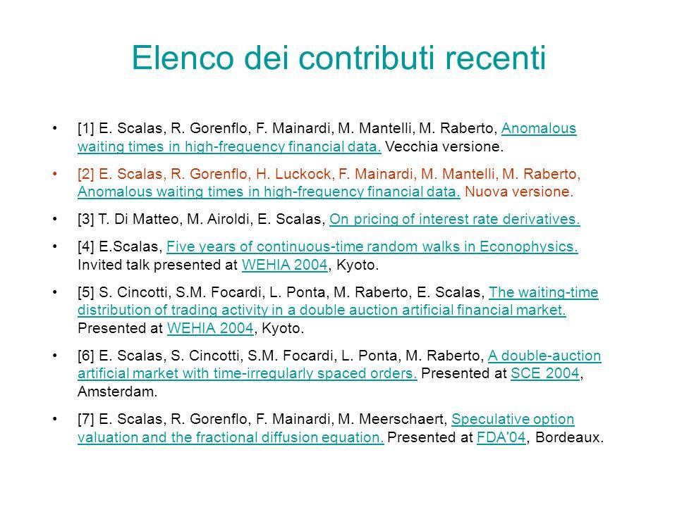 Elenco dei contributi recenti [1] E.Scalas, R. Gorenflo, F.