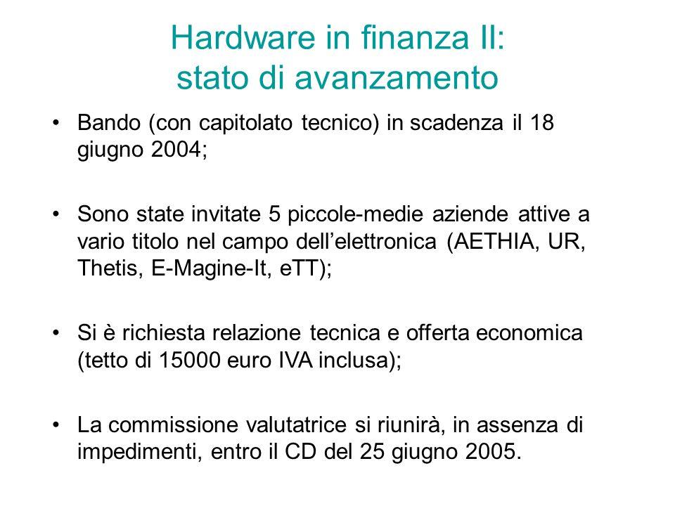 Hardware in finanza II: stato di avanzamento Bando (con capitolato tecnico) in scadenza il 18 giugno 2004; Sono state invitate 5 piccole-medie aziende attive a vario titolo nel campo dellelettronica (AETHIA, UR, Thetis, E-Magine-It, eTT); Si è richiesta relazione tecnica e offerta economica (tetto di 15000 euro IVA inclusa); La commissione valutatrice si riunirà, in assenza di impedimenti, entro il CD del 25 giugno 2005.