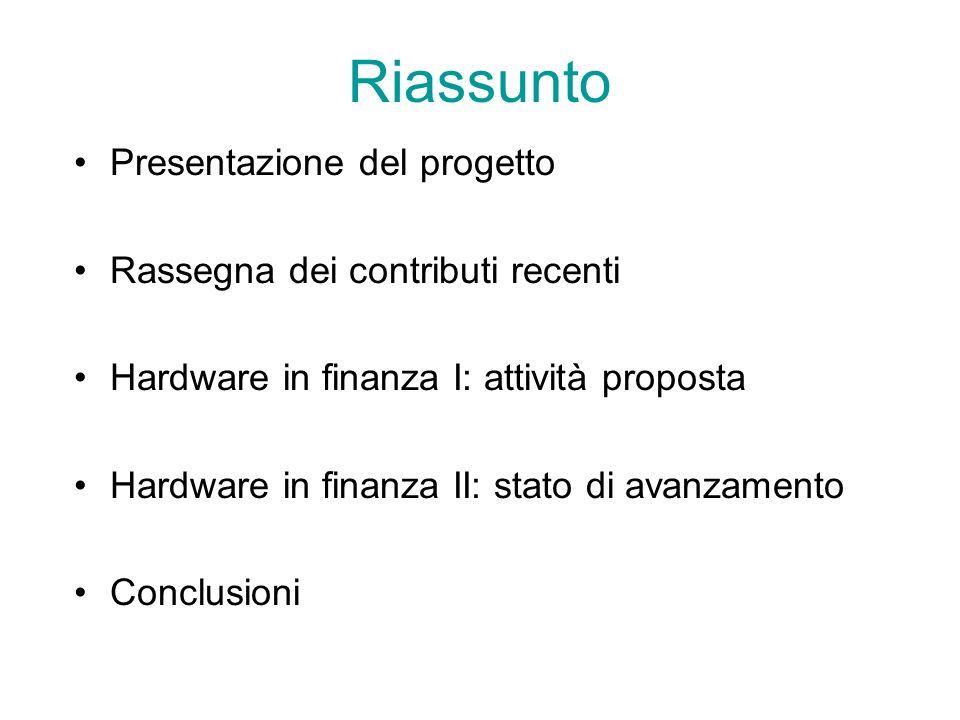 Riassunto Presentazione del progetto Rassegna dei contributi recenti Hardware in finanza I: attività proposta Hardware in finanza II: stato di avanzamento Conclusioni
