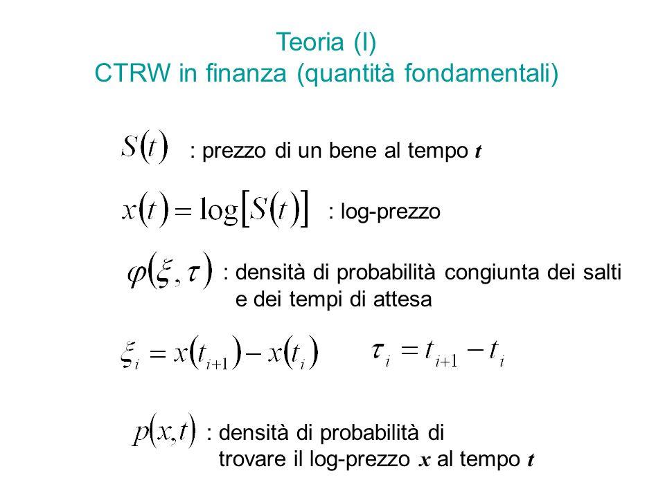 Teoria (I) CTRW in finanza (quantità fondamentali) : prezzo di un bene al tempo t : log-prezzo : densità di probabilità congiunta dei salti e dei tempi di attesa : densità di probabilità di trovare il log-prezzo x al tempo t