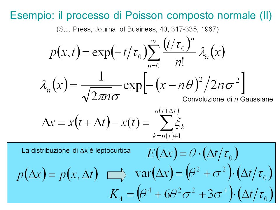 Collaborazioni in corso Densità di probabilità generali per i ritorni i tempi di attesa; (con R.
