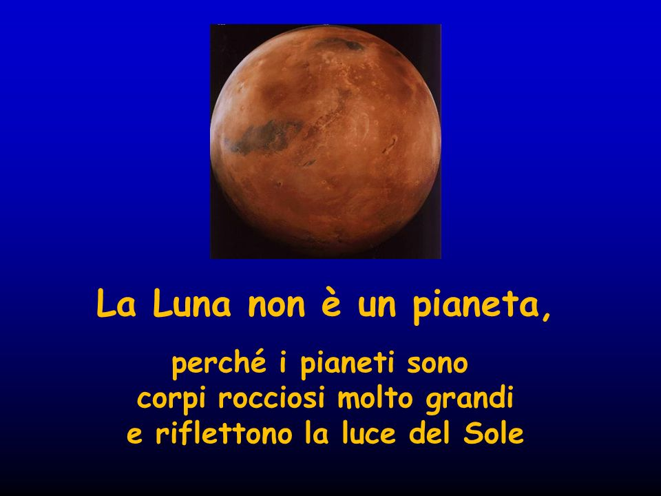 La Luna non è un pianeta, perché i pianeti sono corpi rocciosi molto grandi e riflettono la luce del Sole
