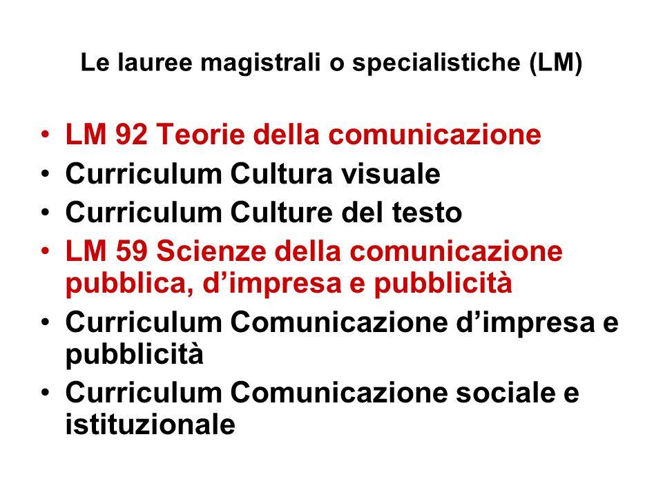 Le lauree magistrali o specialistiche (LM) LM 92 Teorie della comunicazione Curriculum Cultura visuale Curriculum Culture del testo LM 59 Scienze della comunicazione pubblica, dimpresa e pubblicità Curriculum Comunicazione dimpresa e pubblicità Curriculum Comunicazione sociale e istituzionale