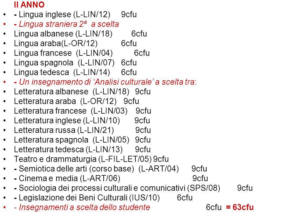 II ANNO - Lingua inglese (L-LIN/12) 9cfu - Lingua straniera 2ª a scelta Lingua albanese (L-LIN/18) 6cfu Lingua araba(L-OR/12) 6cfu Lingua francese (L-LIN/04) 6cfu Lingua spagnola (L-LIN/07) 6cfu Lingua tedesca (L-LIN/14) 6cfu - Un insegnamento di Analisi culturale a scelta tra: Letteratura albanese (L-LIN/18) 9cfu Letteratura araba (L-OR/12) 9cfu Letteratura francese (L-LIN/03) 9cfu Letteratura inglese (L-LIN/10) 9cfu Letteratura russa (L-LIN/21) 9cfu Letteratura spagnola (L-LIN/05) 9cfu Letteratura tedesca (L-LIN/13) 9cfu Teatro e drammaturgia (L-FIL-LET/05) 9cfu - Semiotica delle arti (corso base) (L-ART/04) 9cfu - Cinema e media (L-ART/06) 9cfu - Sociologia dei processi culturali e comunicativi (SPS/08) 9cfu - Legislazione dei Beni Culturali (IUS/10) 6cfu - Insegnamenti a scelta dello studente6cfu = 63cfu
