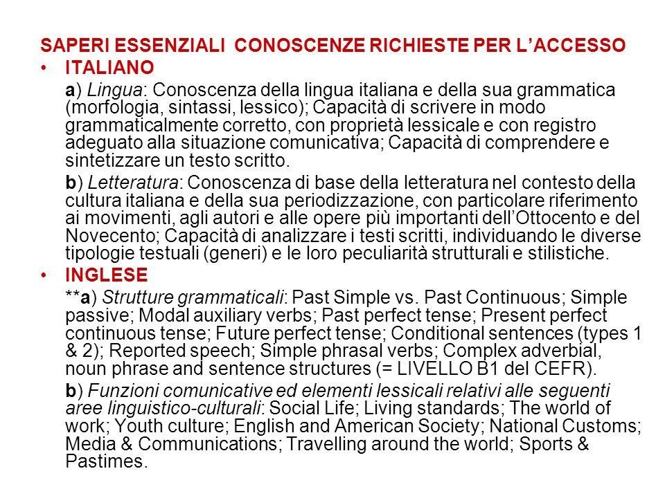 SAPERI ESSENZIALI CONOSCENZE RICHIESTE PER LACCESSO ITALIANO a) Lingua: Conoscenza della lingua italiana e della sua grammatica (morfologia, sintassi,