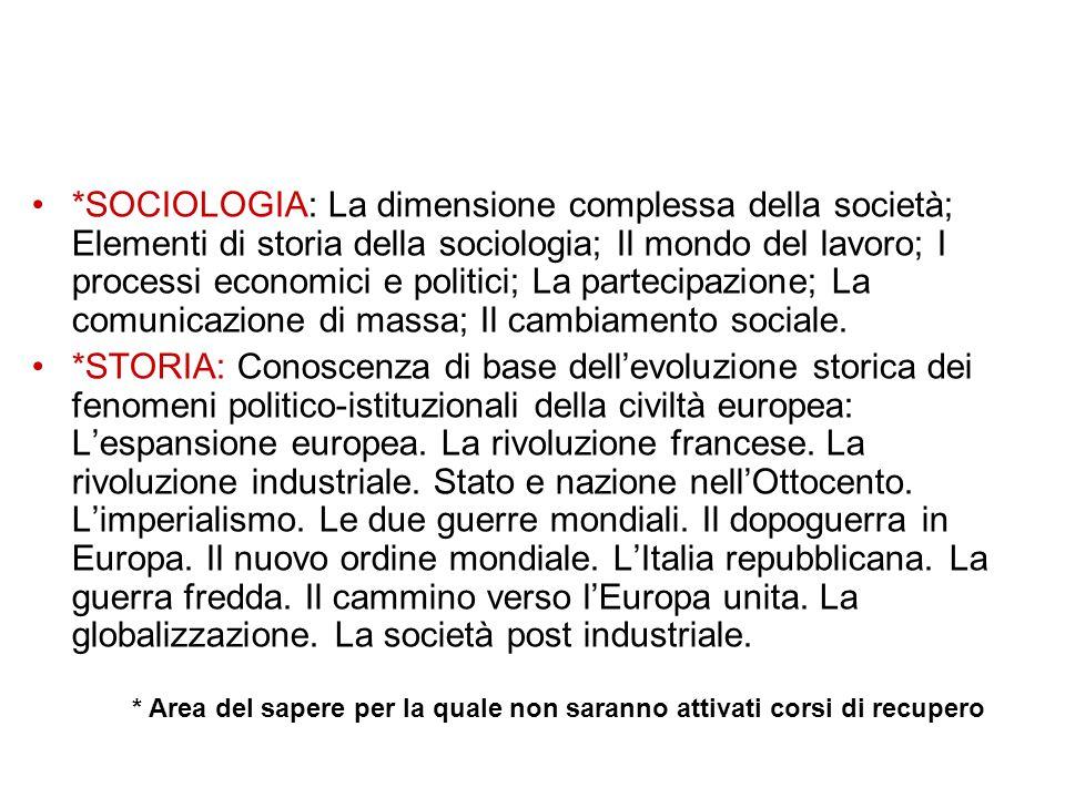 *SOCIOLOGIA: La dimensione complessa della società; Elementi di storia della sociologia; Il mondo del lavoro; I processi economici e politici; La part