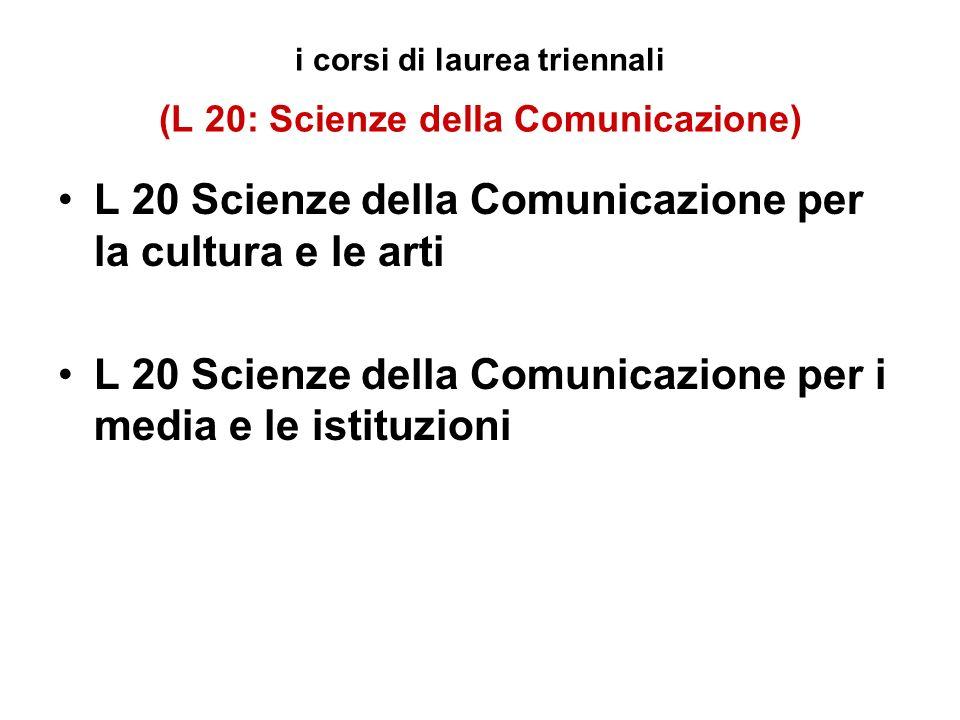 i corsi di laurea triennali (L 20: Scienze della Comunicazione) L 20 Scienze della Comunicazione per la cultura e le arti L 20 Scienze della Comunicazione per i media e le istituzioni