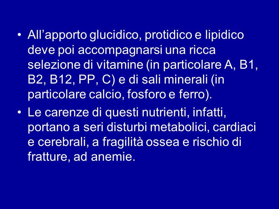 Allapporto glucidico, protidico e lipidico deve poi accompagnarsi una ricca selezione di vitamine (in particolare A, B1, B2, B12, PP, C) e di sali min