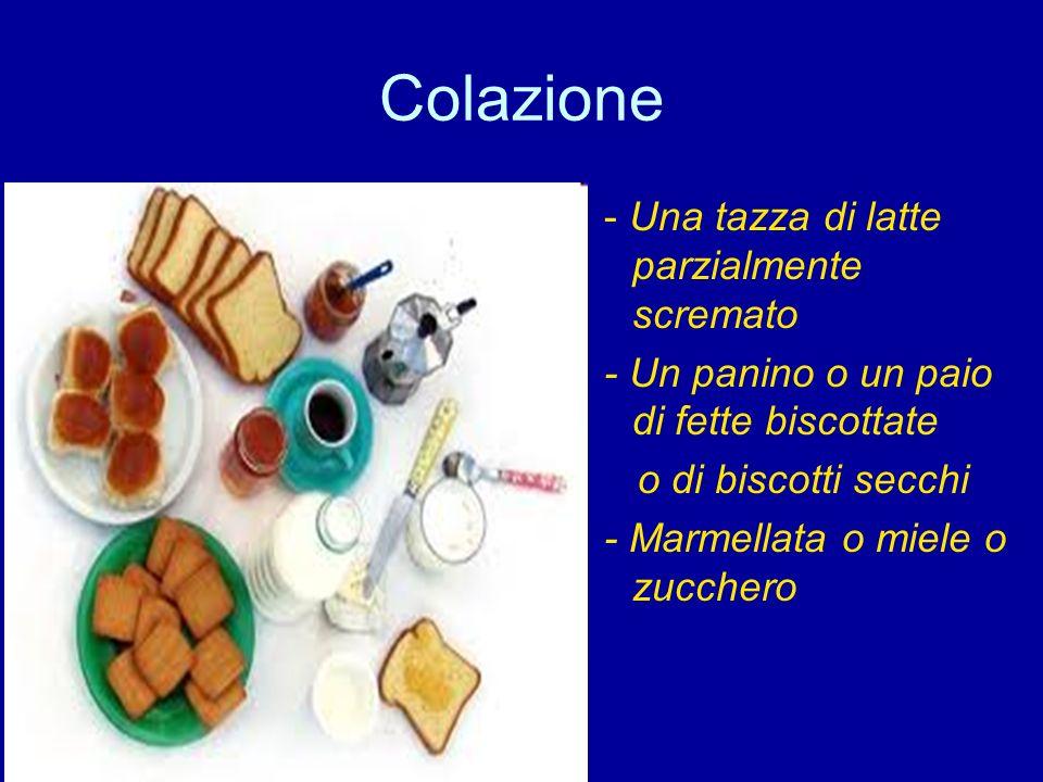 Colazione - Una tazza di latte parzialmente scremato - Un panino o un paio di fette biscottate o di biscotti secchi - Marmellata o miele o zucchero