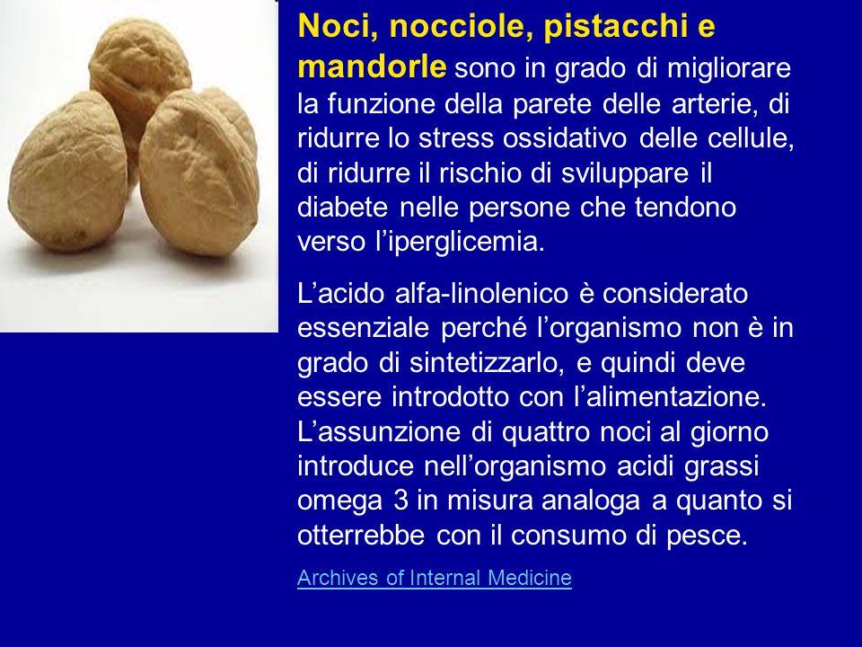 Noci, nocciole, pistacchi e mandorle sono in grado di migliorare la funzione della parete delle arterie, di ridurre lo stress ossidativo delle cellule