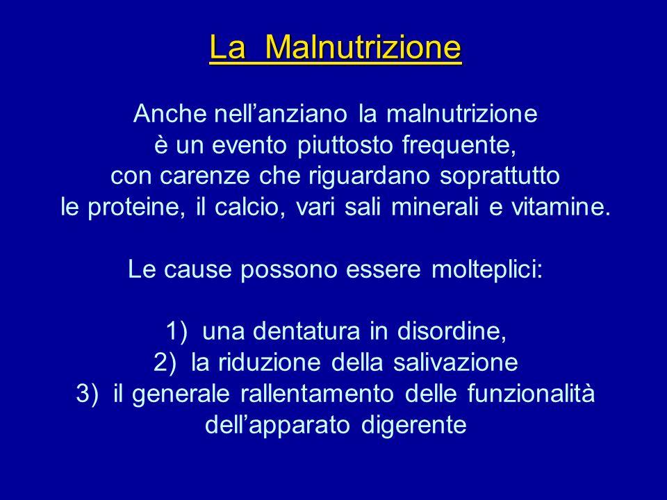 La Malnutrizione La Malnutrizione Anche nellanziano la malnutrizione è un evento piuttosto frequente, con carenze che riguardano soprattutto le protei