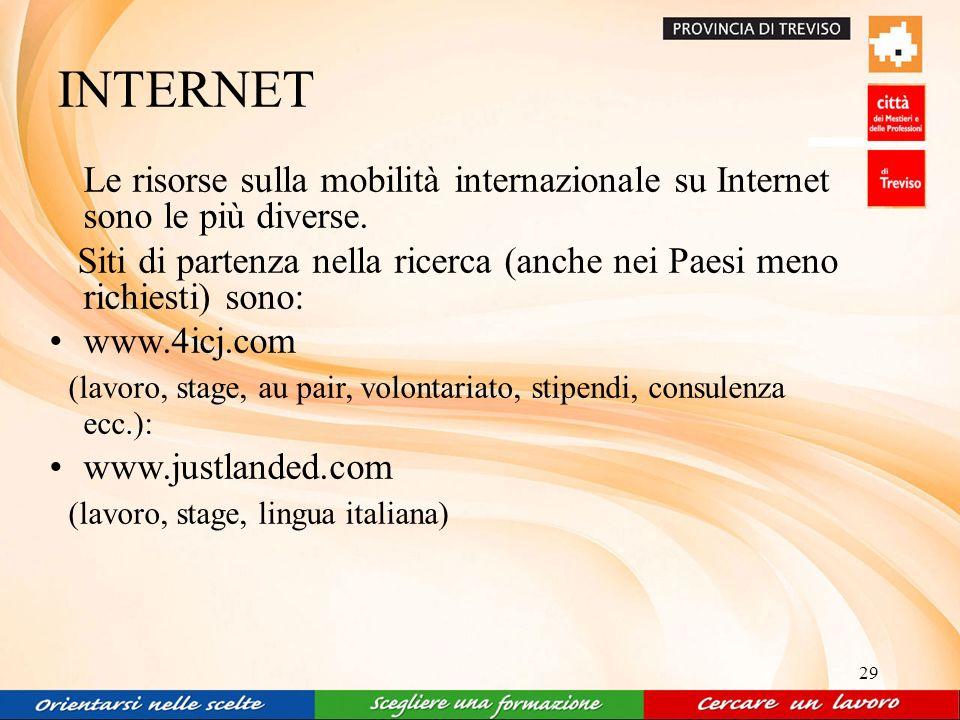 29 INTERNET Le risorse sulla mobilità internazionale su Internet sono le più diverse.
