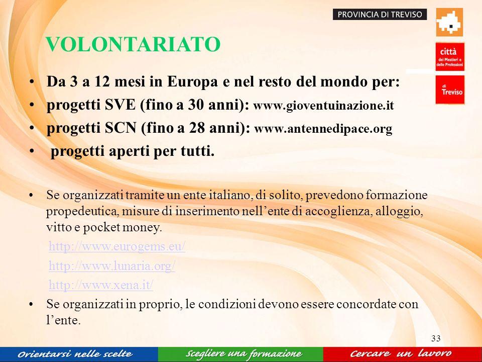 33 VOLONTARIATO Da 3 a 12 mesi in Europa e nel resto del mondo per: progetti SVE (fino a 30 anni): www.gioventuinazione.it progetti SCN (fino a 28 anni): www.antennedipace.org progetti aperti per tutti.