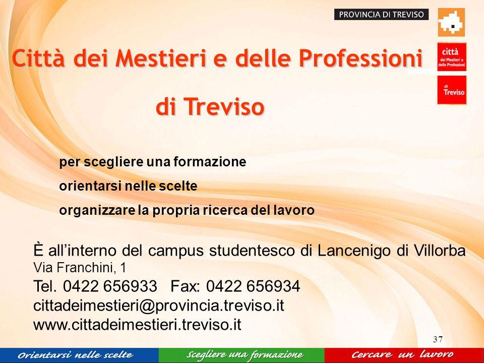 37 per scegliere una formazione orientarsi nelle scelte organizzare la propria ricerca del lavoro È allinterno del campus studentesco di Lancenigo di Villorba Via Franchini, 1 Tel.