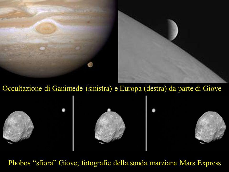 Occultazione di Ganimede (sinistra) e Europa (destra) da parte di Giove Phobos sfiora Giove; fotografie della sonda marziana Mars Express
