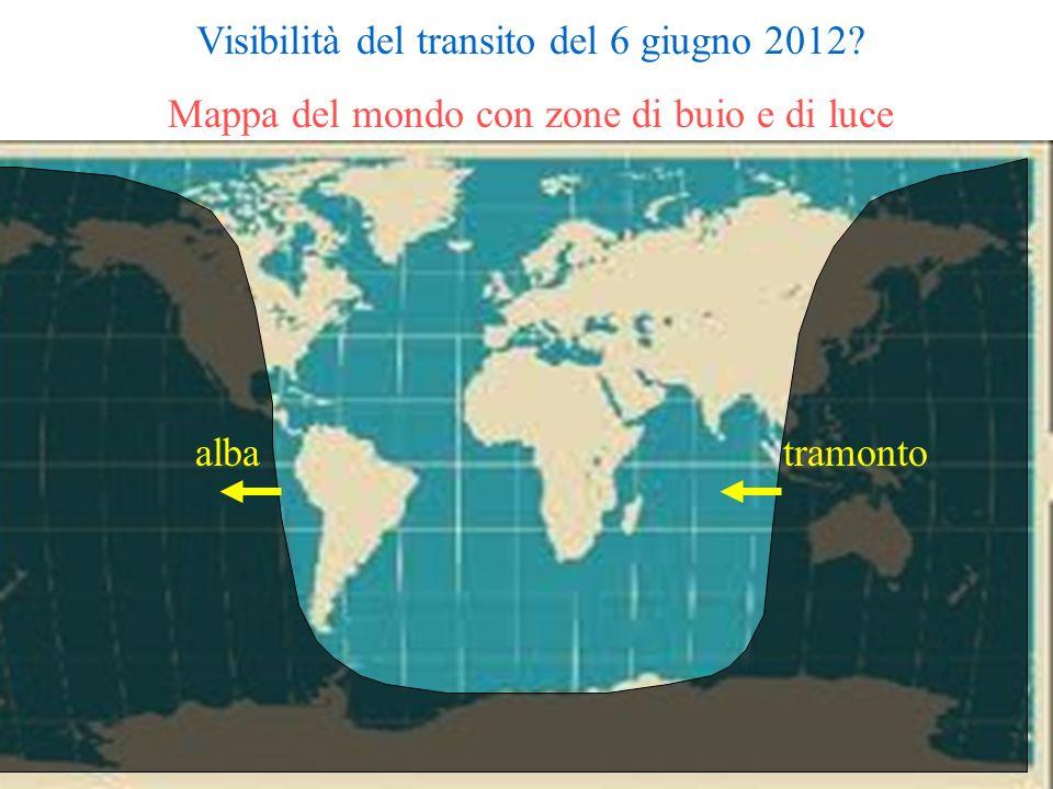 Visibilità del transito del 6 giugno 2012? Mappa del mondo con zone di buio e di luce albatramonto