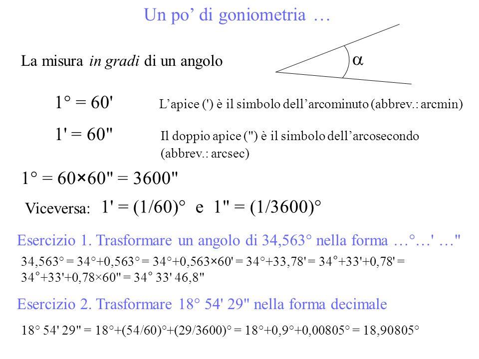 Un po di goniometria … La misura in gradi di un angolo 1° = 60' Lapice (') è il simbolo dellarcominuto (abbrev.: arcmin) 1' = 60