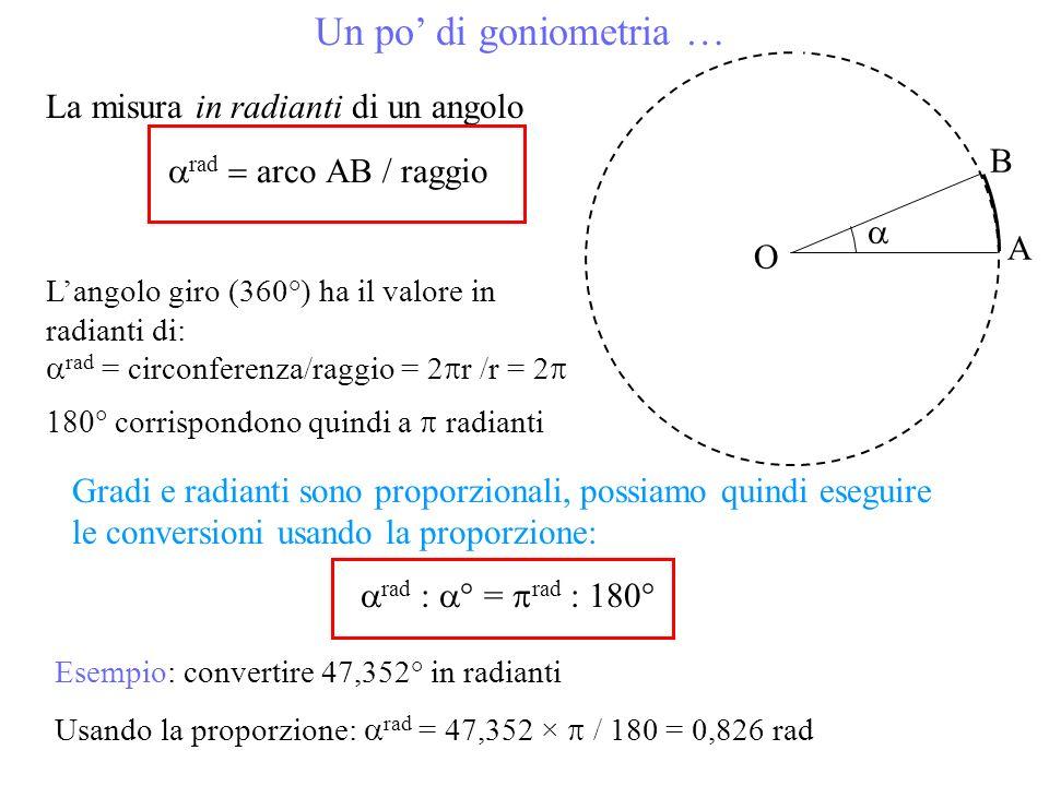 Un po di goniometria … La misura in radianti di un angolo O B A rad arco raggio Langolo giro (360°) ha il valore in radianti di: rad = circonferenza/r