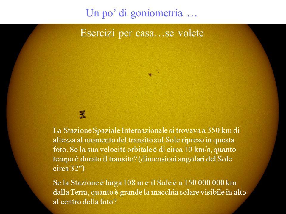 Un po di goniometria … Esercizi per casa…se volete La Stazione Spaziale Internazionale si trovava a 350 km di altezza al momento del transito sul Sole
