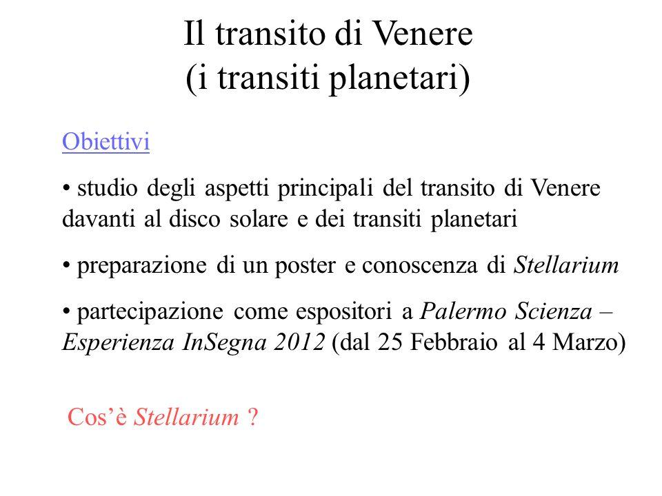 Il transito di Venere (i transiti planetari) Obiettivi studio degli aspetti principali del transito di Venere davanti al disco solare e dei transiti p