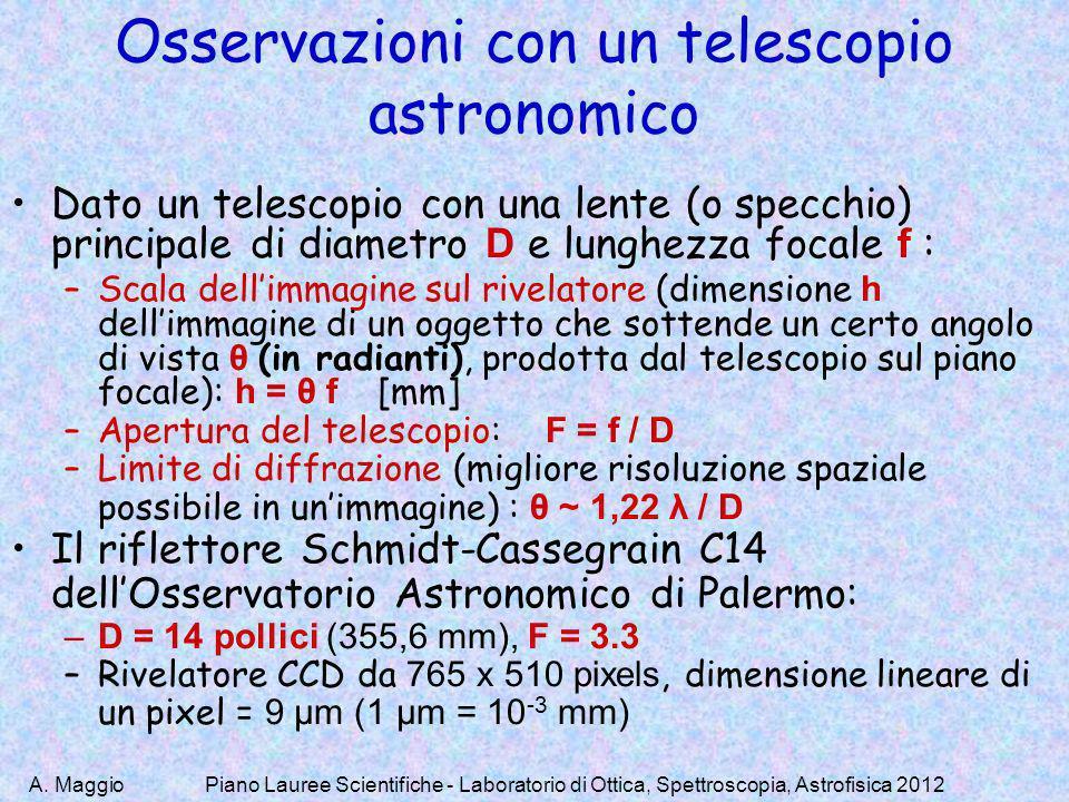 A. MaggioPiano Lauree Scientifiche - Laboratorio di Ottica, Spettroscopia, Astrofisica 2012 Osservazioni con un telescopio astronomico Dato un telesco