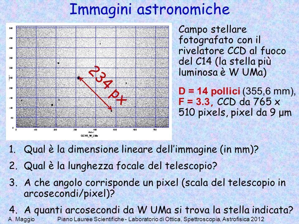 A. MaggioPiano Lauree Scientifiche - Laboratorio di Ottica, Spettroscopia, Astrofisica 2012 Immagini astronomiche Campo stellare fotografato con il ri