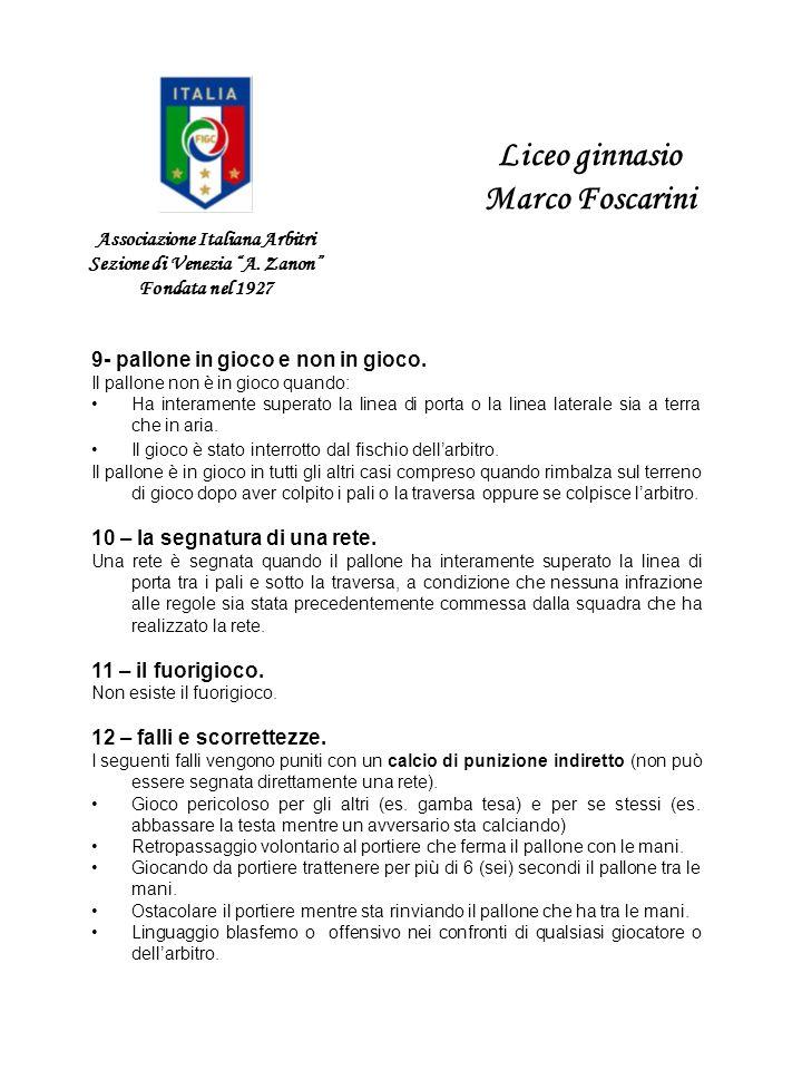 Associazione Italiana Arbitri Sezione di Venezia A. Zanon Fondata nel 1927 Liceo ginnasio Marco Foscarini 9- pallone in gioco e non in gioco. Il pallo
