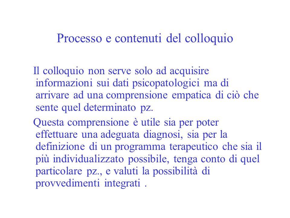 Processo e contenuti del colloquio Il colloquio non serve solo ad acquisire informazioni sui dati psicopatologici ma di arrivare ad una comprensione e
