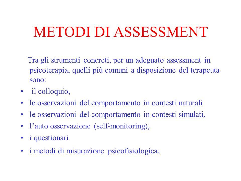 METODI DI ASSESSMENT Tra gli strumenti concreti, per un adeguato assessment in psicoterapia, quelli più comuni a disposizione del terapeuta sono: il c