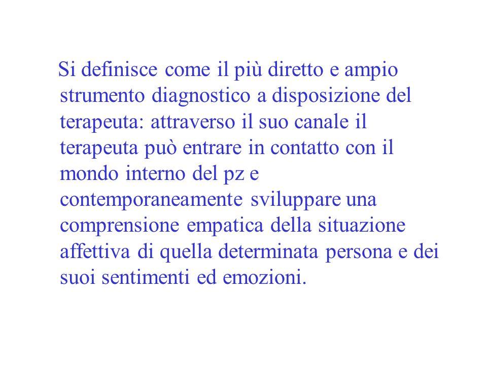 Sanavio (1991) sottolinea limportanza del colloquio coma strumento diagnostico e ad esso assegna una funzione peculiare allinterno dellassessment.