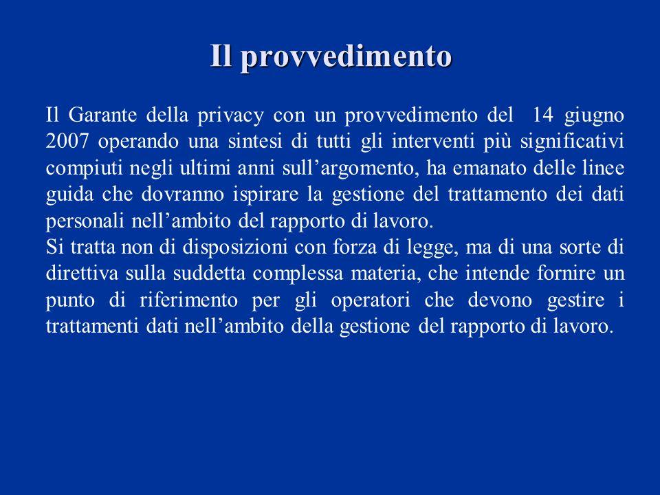 Il provvedimento Il Garante della privacy con un provvedimento del 14 giugno 2007 operando una sintesi di tutti gli interventi più significativi compi