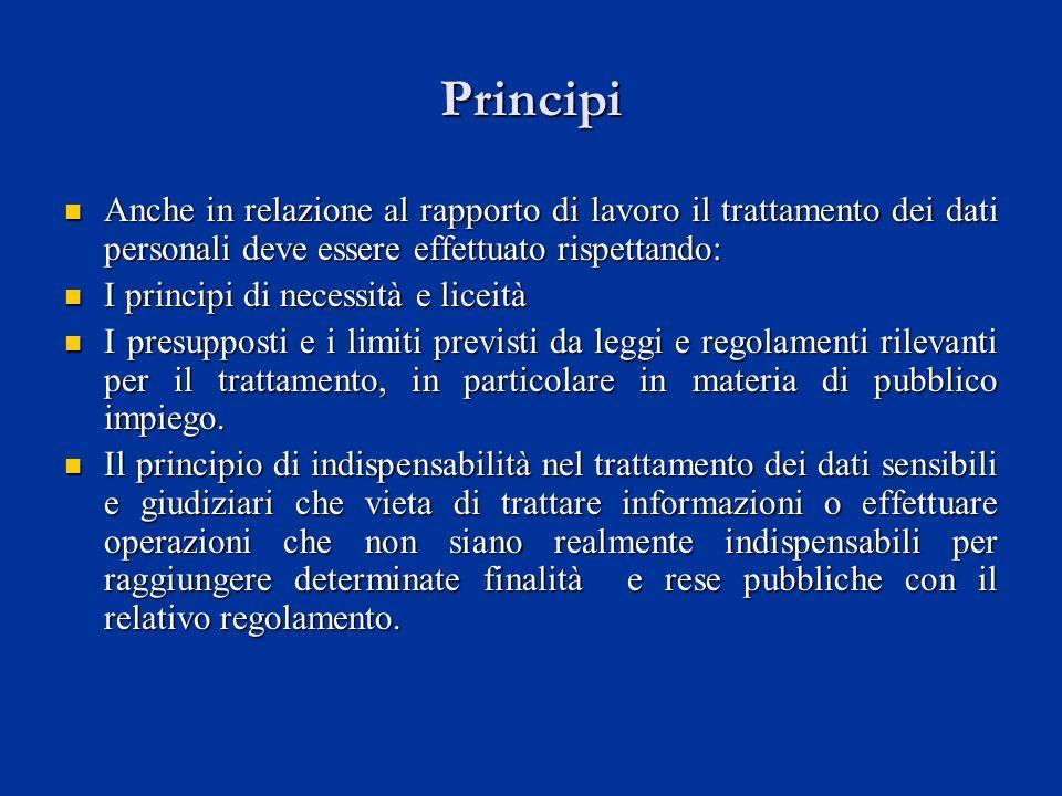 Principi Anche in relazione al rapporto di lavoro il trattamento dei dati personali deve essere effettuato rispettando: Anche in relazione al rapporto