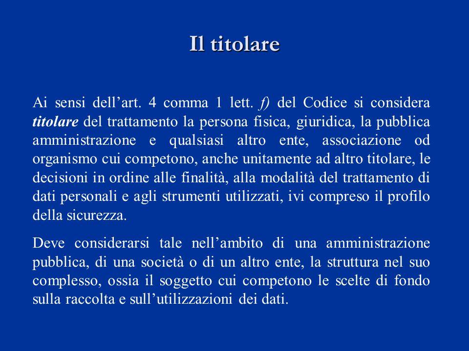 Il titolare Ai sensi dellart. 4 comma 1 lett. f) del Codice si considera titolare del trattamento la persona fisica, giuridica, la pubblica amministra